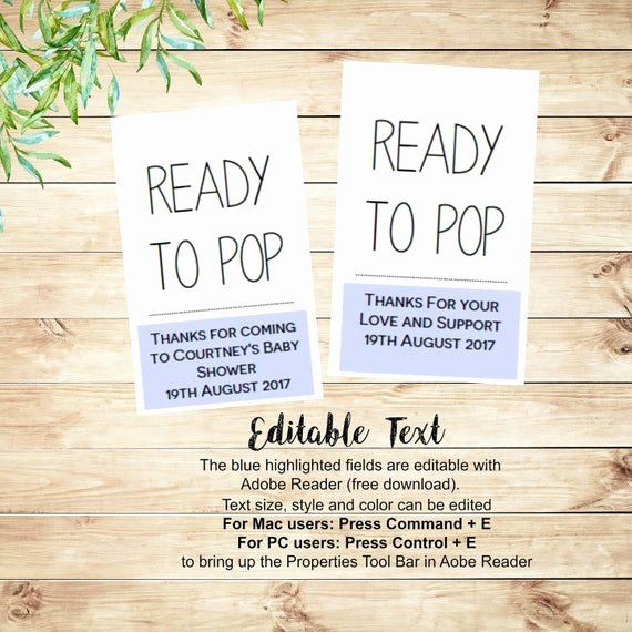 Ready to Pop Template Lovely Ready to Pop Baby Shower Favor Tags Printable Editable