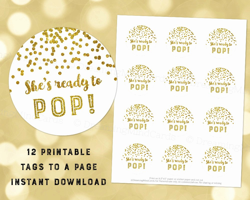 Ready to Pop Template Luxury Printable She S Ready to Pop Favor Tags Gold Glitter