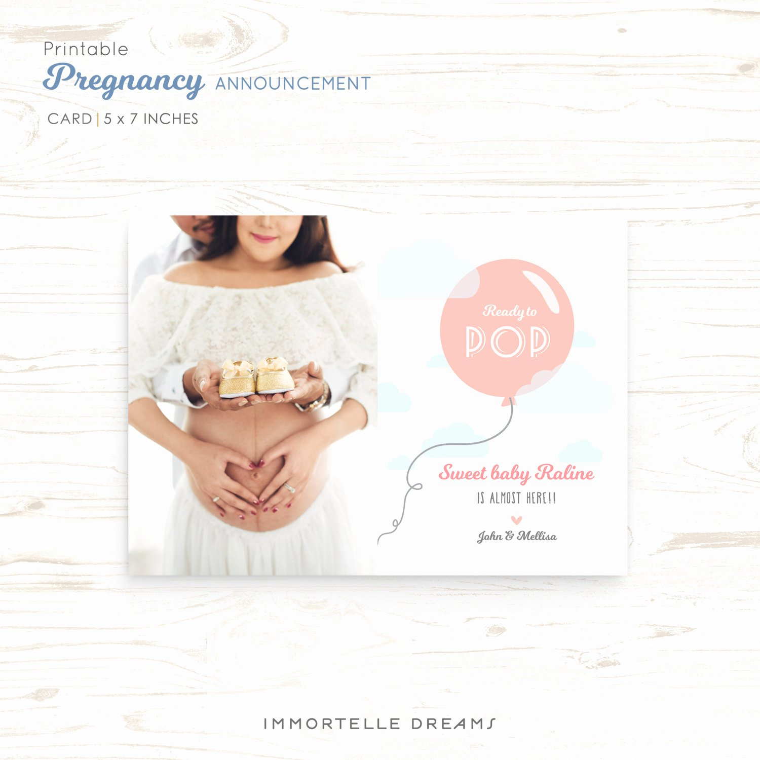Ready to Pop Template New Pregnancy Announcement Card Ready to Pop Template Card