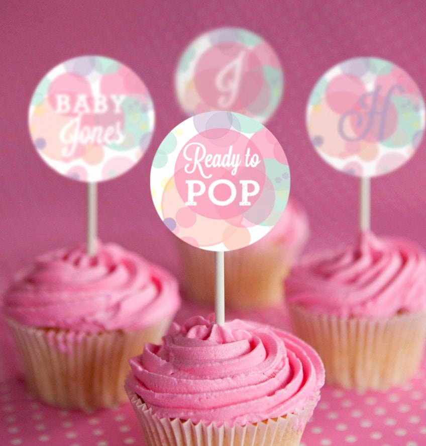 Ready to Pop Template New Ready to Pop Baby Shower Cupcake toppers In Whites and Pinks