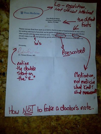Real Fake Doctors Note Fresh is This the Worst Fake Doctor's Note Ever and What Could
