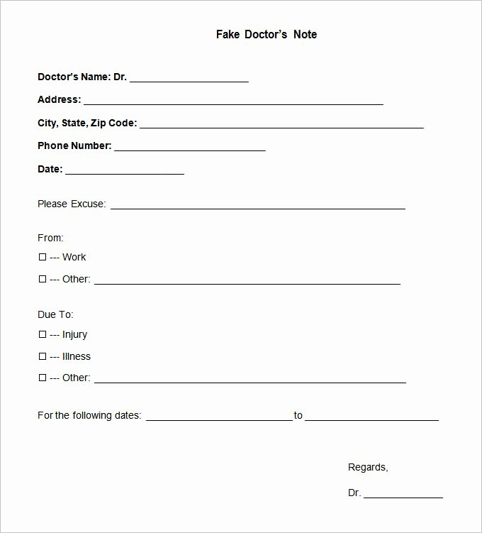 Real Fake Doctors Note Lovely Doctors Note Template 9 Free Sample Example format