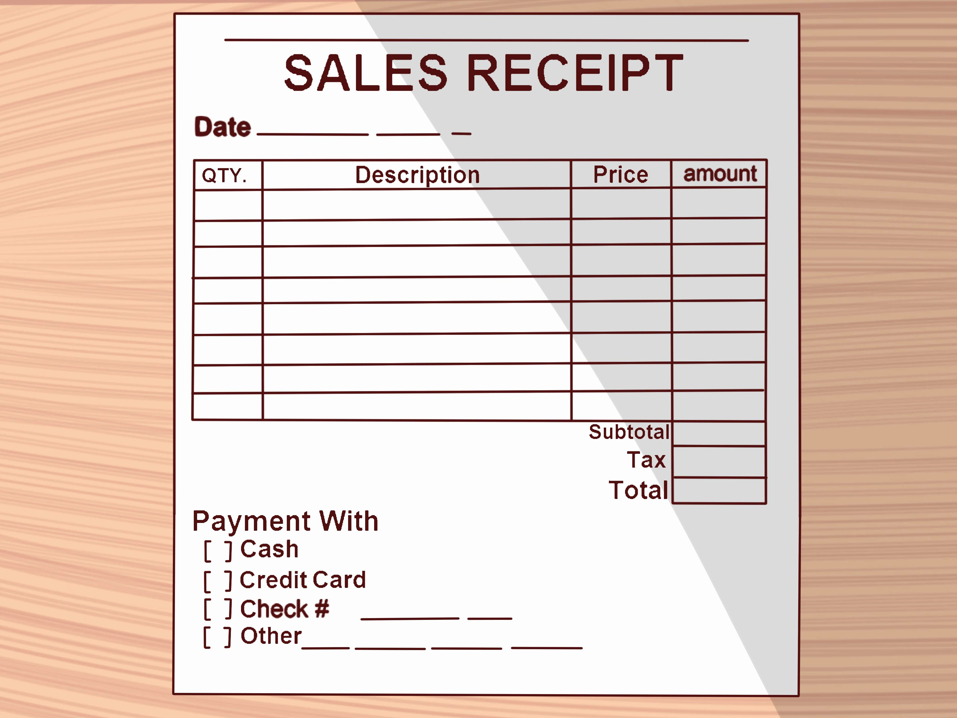 Receipt Of Sale Template Beautiful How to Write A Receipt 9 Steps with Wikihow
