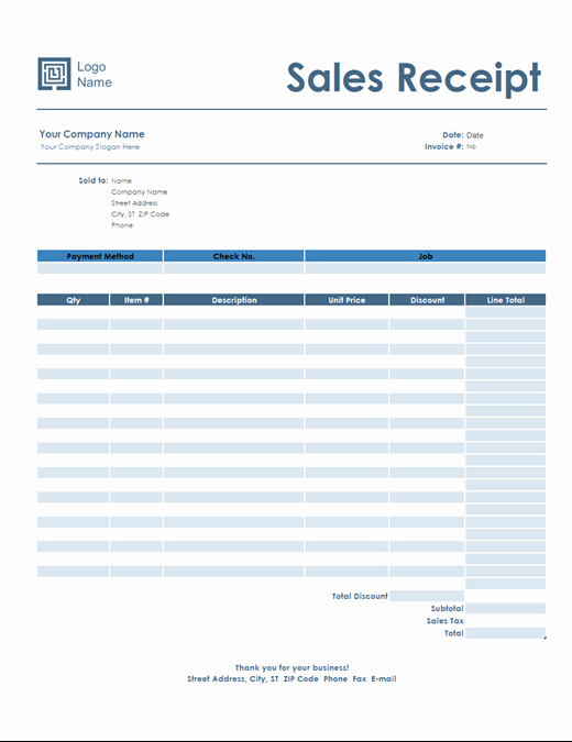 Receipt Of Sale Template Beautiful Sales Receipt Simple Blue Design