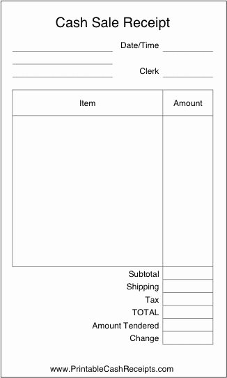 Receipt Of Sale Template Elegant A Basic Airy Cash Receipt with Plenty Of Room to Write In