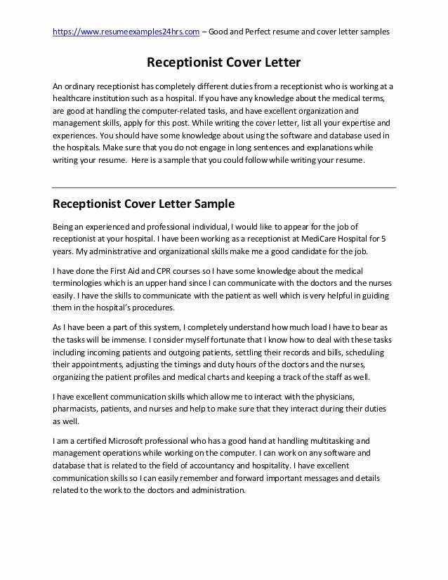 Receptionist Cover Letter Sample Elegant Receptionist Cover Letter Sample