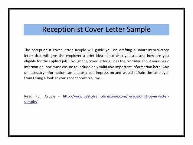 Receptionist Cover Letter Sample Inspirational Receptionist Cover Letter Sample Pdf
