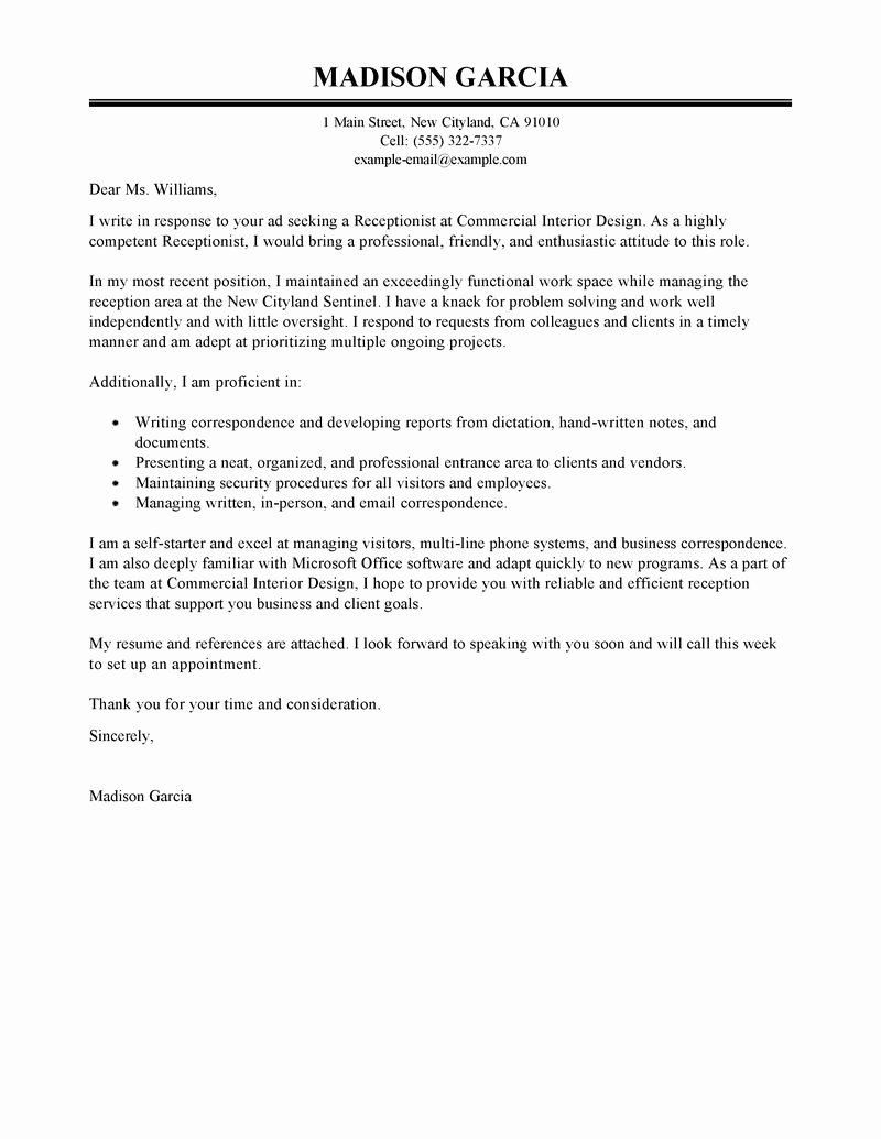 Receptionist Cover Letter Sample Luxury Receptionist Cover Letter