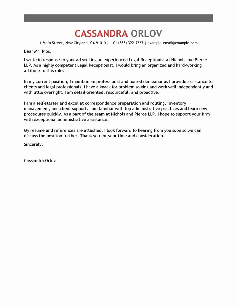 Receptionist Cover Letter Sample New Legal Receptionist Cover Letter Examples