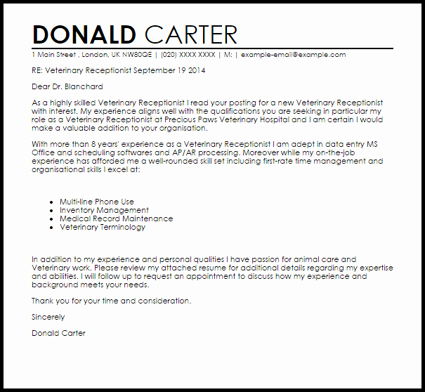 Receptionist Cover Letter Sample New Veterinary Receptionist Cover Letter Sample