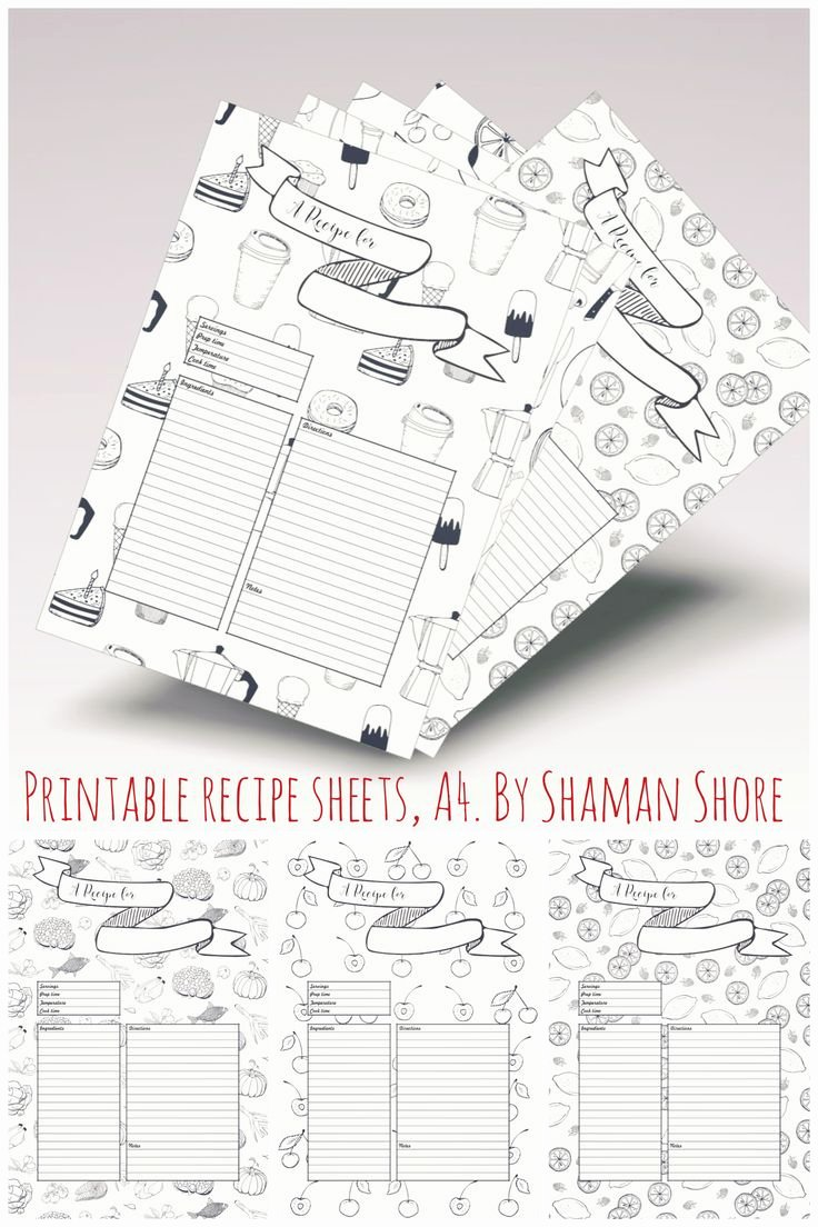 Recipe Book Template Pages Awesome Recipe Template Printable 10 Recipe Pages Blank Recipe