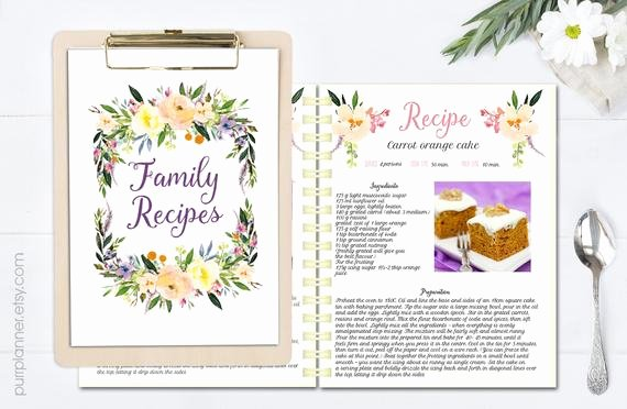 Recipe Book Template Pages Elegant Floral Printable Cook Book Editable Recipe Template Recipe