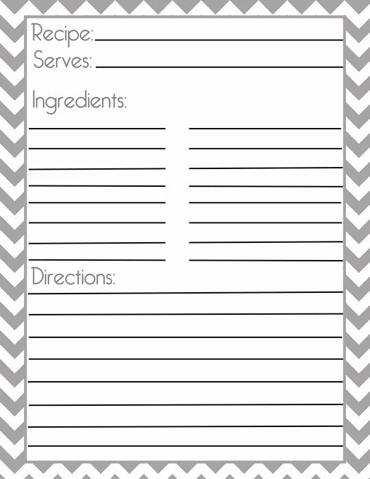 Recipe Book Template Pages Fresh Chevron Gray Recipe Page and Filler Page
