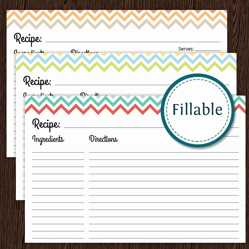 Recipe Templates Microsoft Word Fresh Recipe Card Colourful Chevron Fillable 4x6 Recipe Card