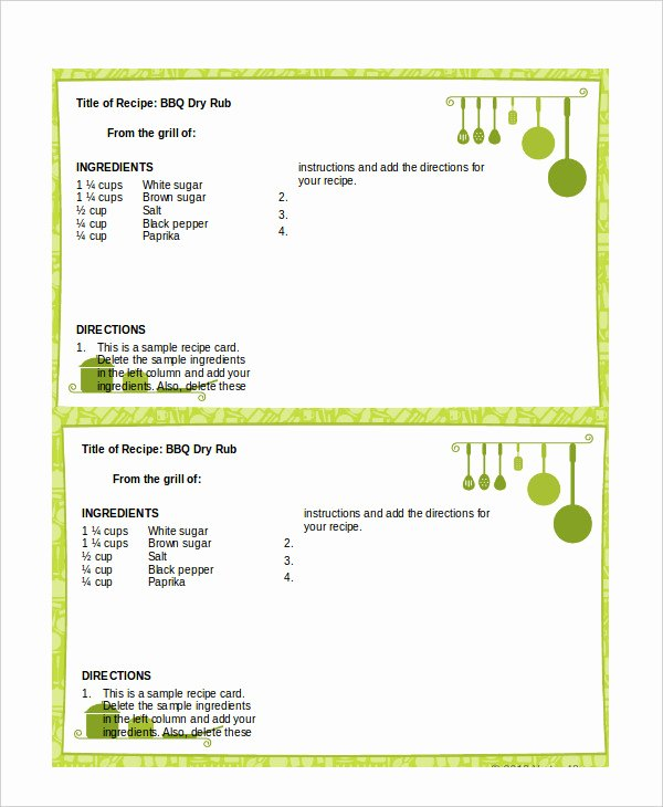 Recipe Templates Microsoft Word Fresh Word Recipe Template 6 Free Word Documents Download