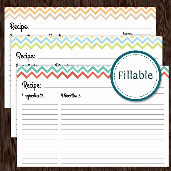 Recipe Templates Microsoft Word Inspirational Recipe Card Colourful Chevron Fillable 4x6 Recipe Card