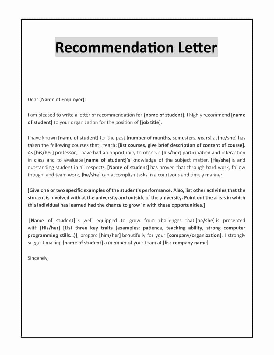 Recommendation Letter Examples for Jobs Awesome 43 Free Letter Of Re Mendation Templates & Samples