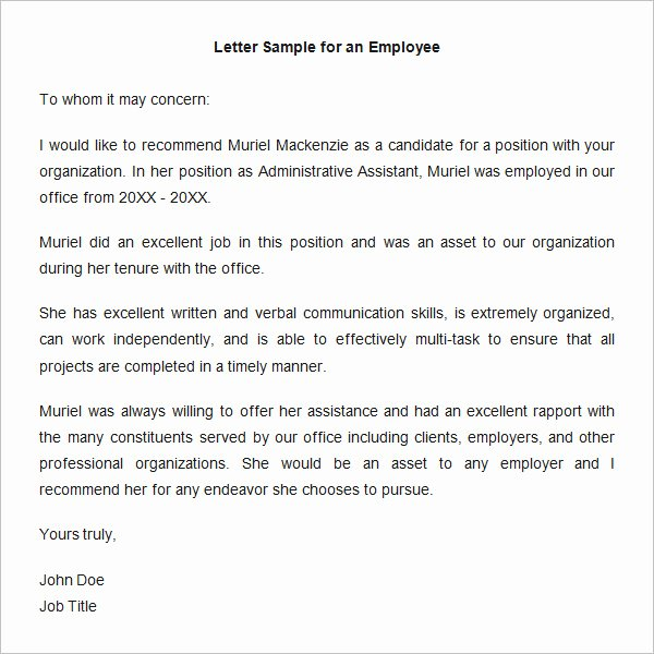 Recommendation Letter Examples for Jobs Best Of 18 Employee Re Mendation Letters Pdf Doc