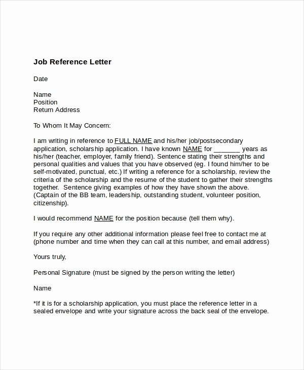 Recommendation Letter Examples for Jobs Fresh 7 Job Reference Letter Templates Free Sample Example