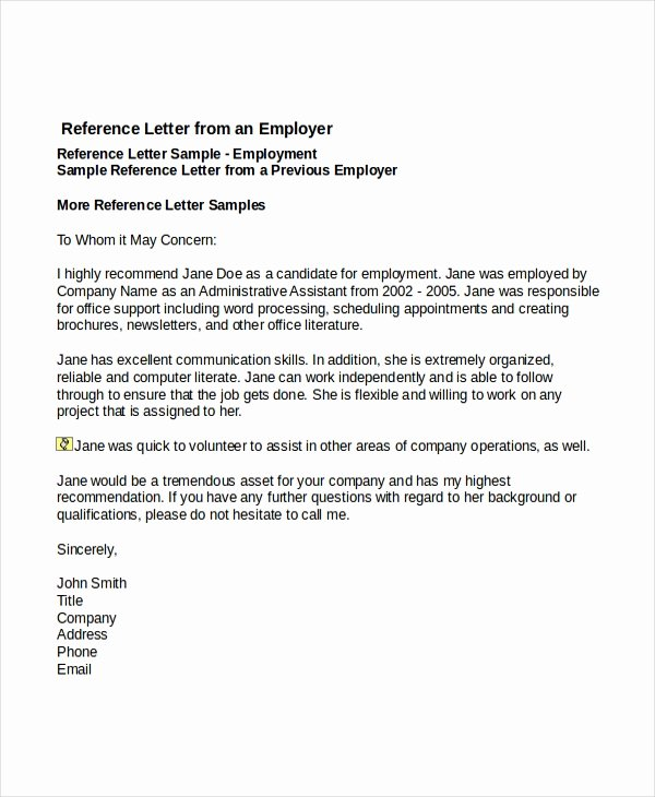 Recommendation Letter Examples for Jobs Luxury 7 Job Reference Letter Templates Free Sample Example