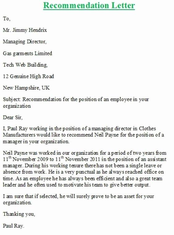 Recommendation Letter for A Job Elegant Personal Re Mendation Letter Samples