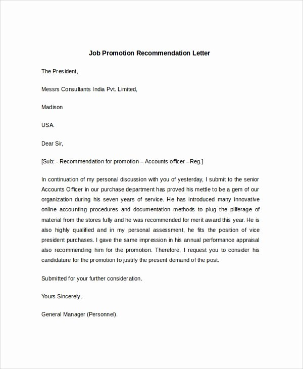 Recommendation Letter for A Job Inspirational Sample Job Re Mendation Letter 6 Documents In Pdf Word