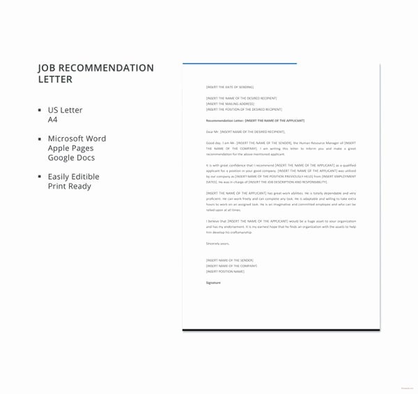 Recommendation Letter for A Job Lovely 10 Employee Re Mendation Letter Template 10 Free
