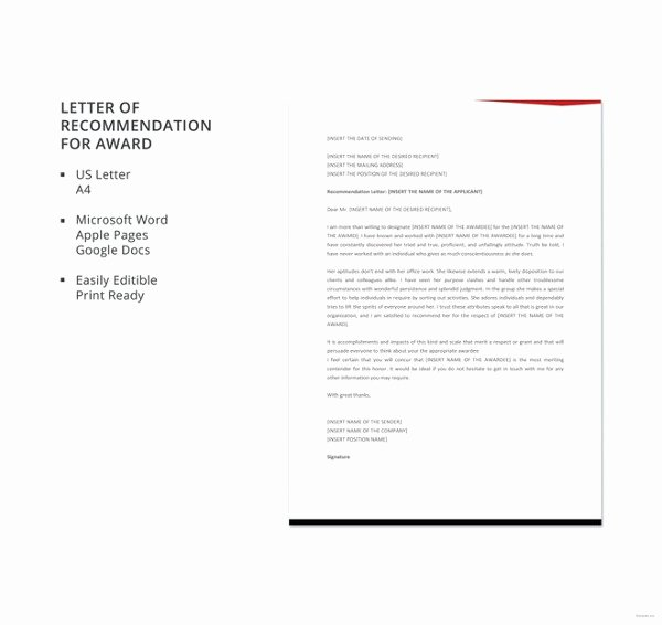 Recommendation Letter for An Award Awesome 30 Letters Of Re Mendation Pdf Doc Xlsx
