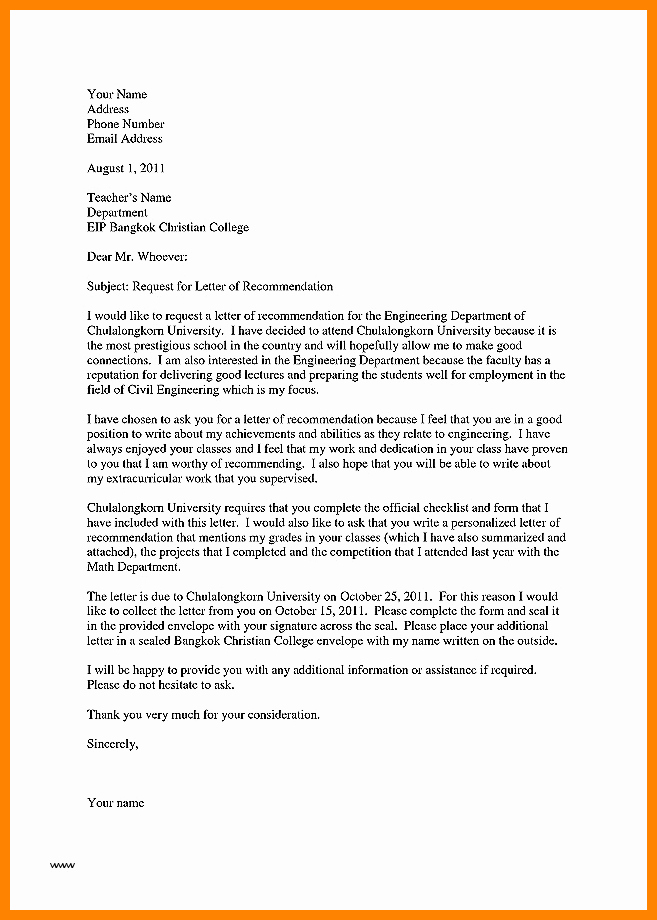Recommendation Letter for An Award Fresh 7 Letter Of Re Mendation for Teacher Of the Year