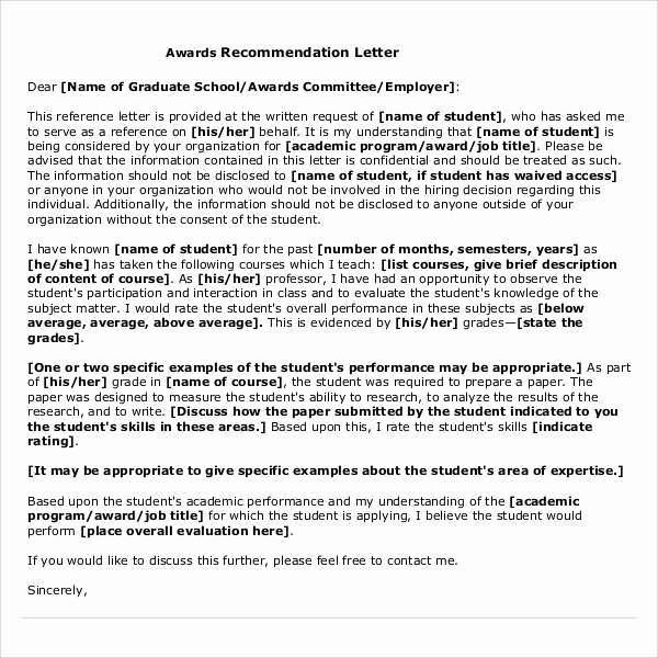 Recommendation Letter for An Award Lovely Free 45 Sample Letters Of Re Mendation for Graduate