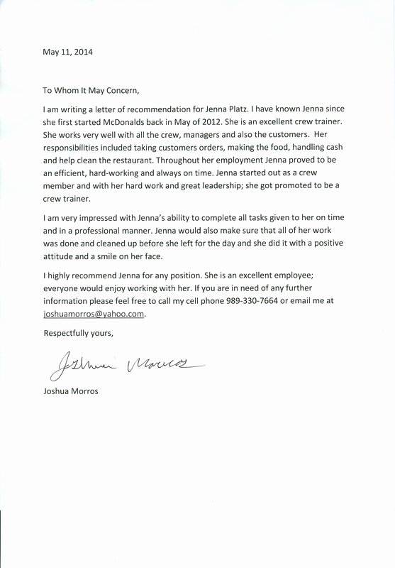 Recommendation Letter for Citizenship Inspirational Personal Testimony Portfolio
