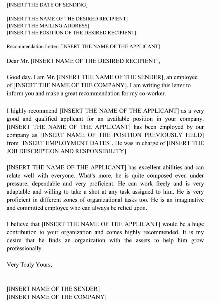 Recommendation Letter for Coworker Awesome Letter Of Re Mendation for Co Worker 18 Sample Letters