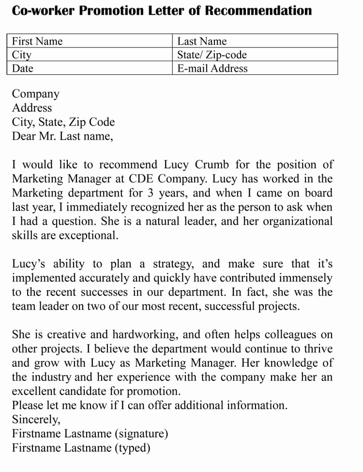 Recommendation Letter for Coworker Beautiful Letter Of Re Mendation for Co Worker 18 Sample Letters