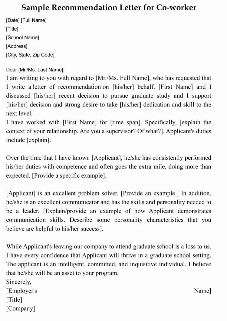 Recommendation Letter for Coworker Best Of Letter Of Re Mendation for Co Worker 18 Sample Letters
