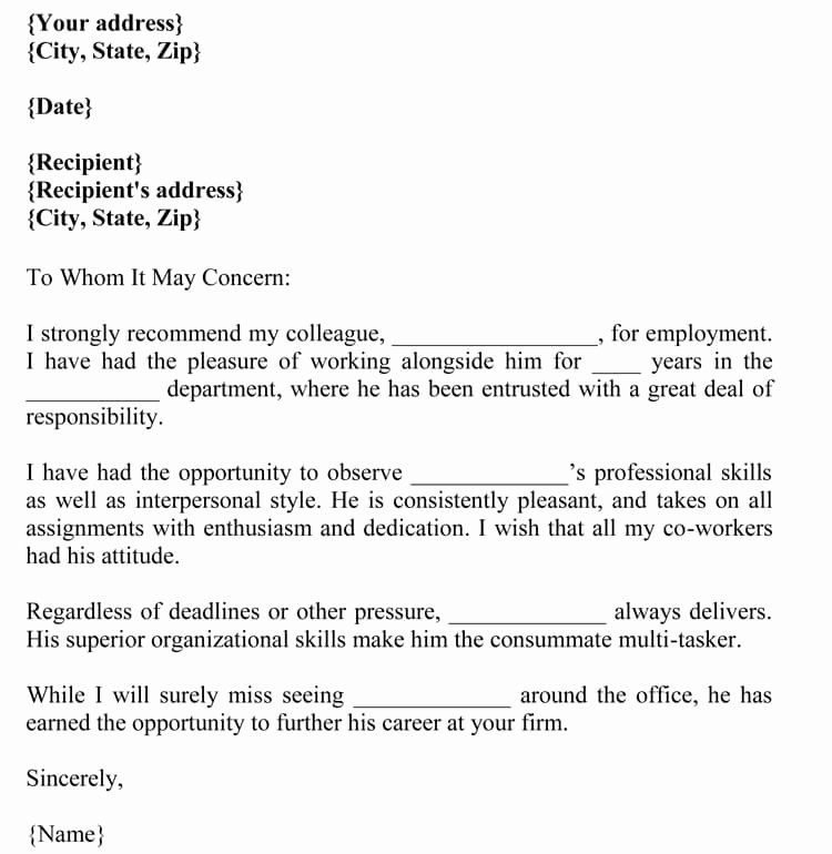 Recommendation Letter for Coworker New Letter Of Re Mendation for Co Worker 18 Sample Letters