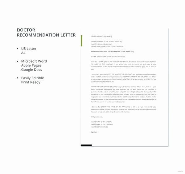 Recommendation Letter for Doctor Lovely 30 Re Mendation Letter Templates Free Sample