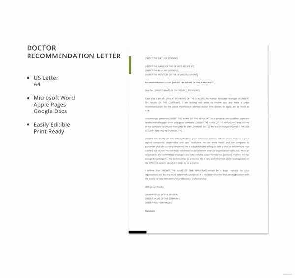 Recommendation Letter for Doctor New Doctor Letter Template – 16 Free Word Excel Pdf format