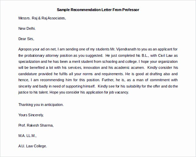 Recommendation Letter for Professor Position Awesome Sample Re Mendation Letter to Follow for the Best Of It