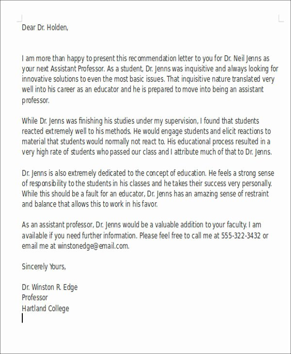 Recommendation Letter for Professor Position Beautiful 6 Sample Teaching Position Re Mendation Letter Free