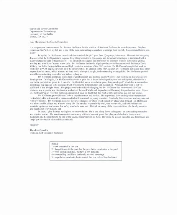 Recommendation Letter for Professor Position Elegant Sample Re Mendation Letter From Professor 7 Examples
