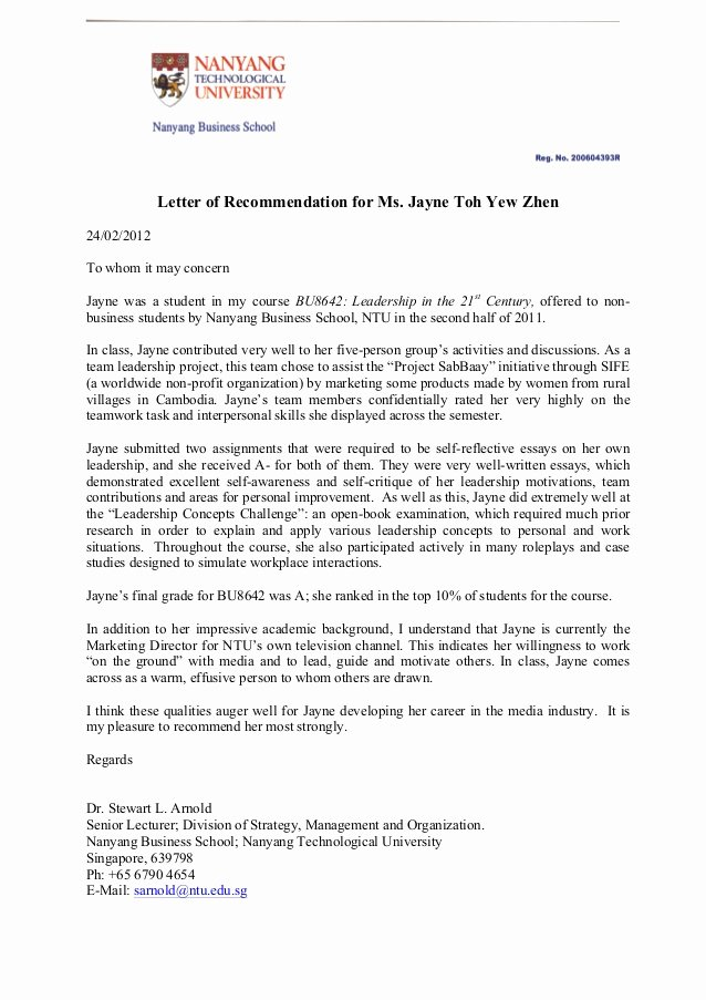 Recommendation Letter for Professor Position New Letter Of Re Mendation for Jayne toh
