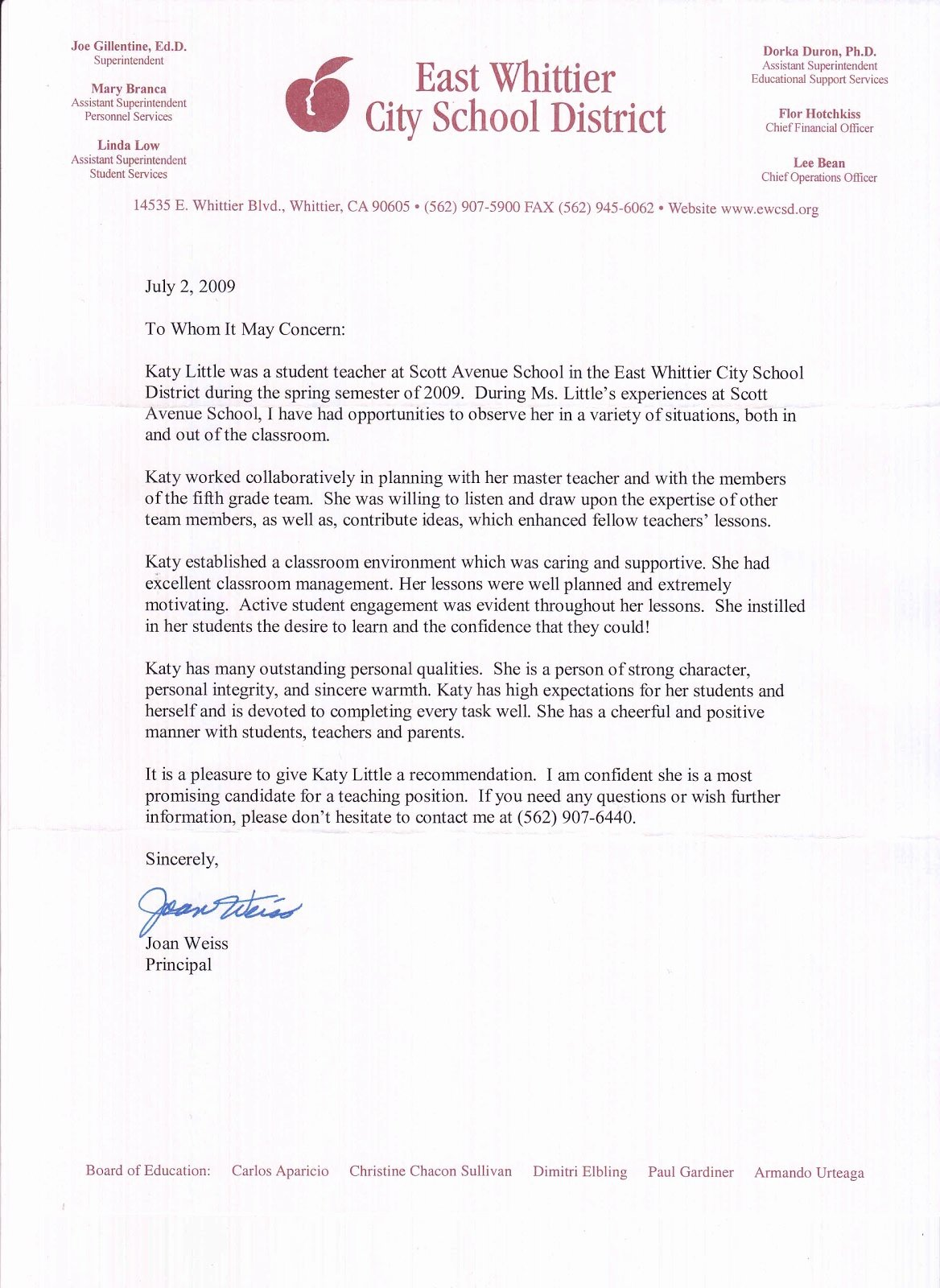 Recommendation Letter for Teacher Best Of Kathryn Little Letters Of Re Mendation Student Teaching