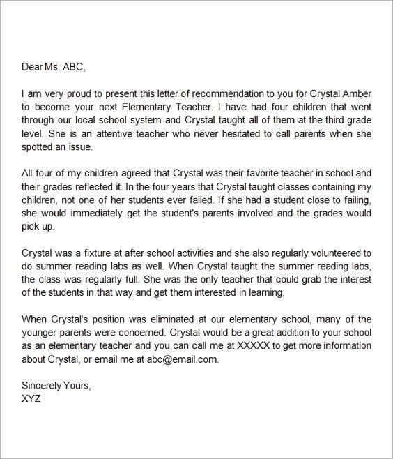 Recommendation Letter for Teacher Inspirational Letter for Teacher Letter Templates and Templates On