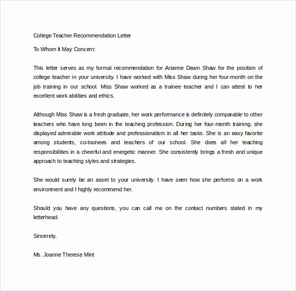 Recommendation Letter for Teacher Inspirational Sample College Re Mendation Letter 14 Free Documents