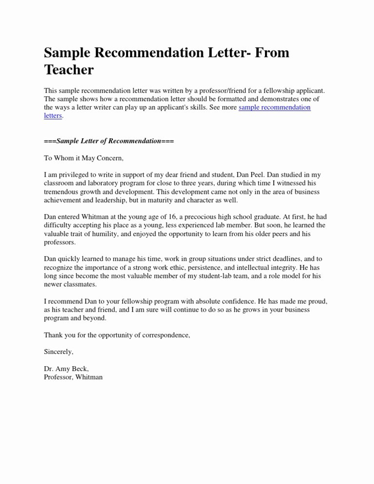 Recommendation Letter for Teacher Luxury Sample Re Mendation Letter From Teacher Doc