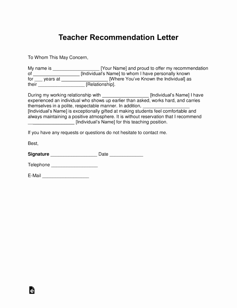 Recommendation Letter for Teacher Unique Free Teacher Re Mendation Letter Template with Samples