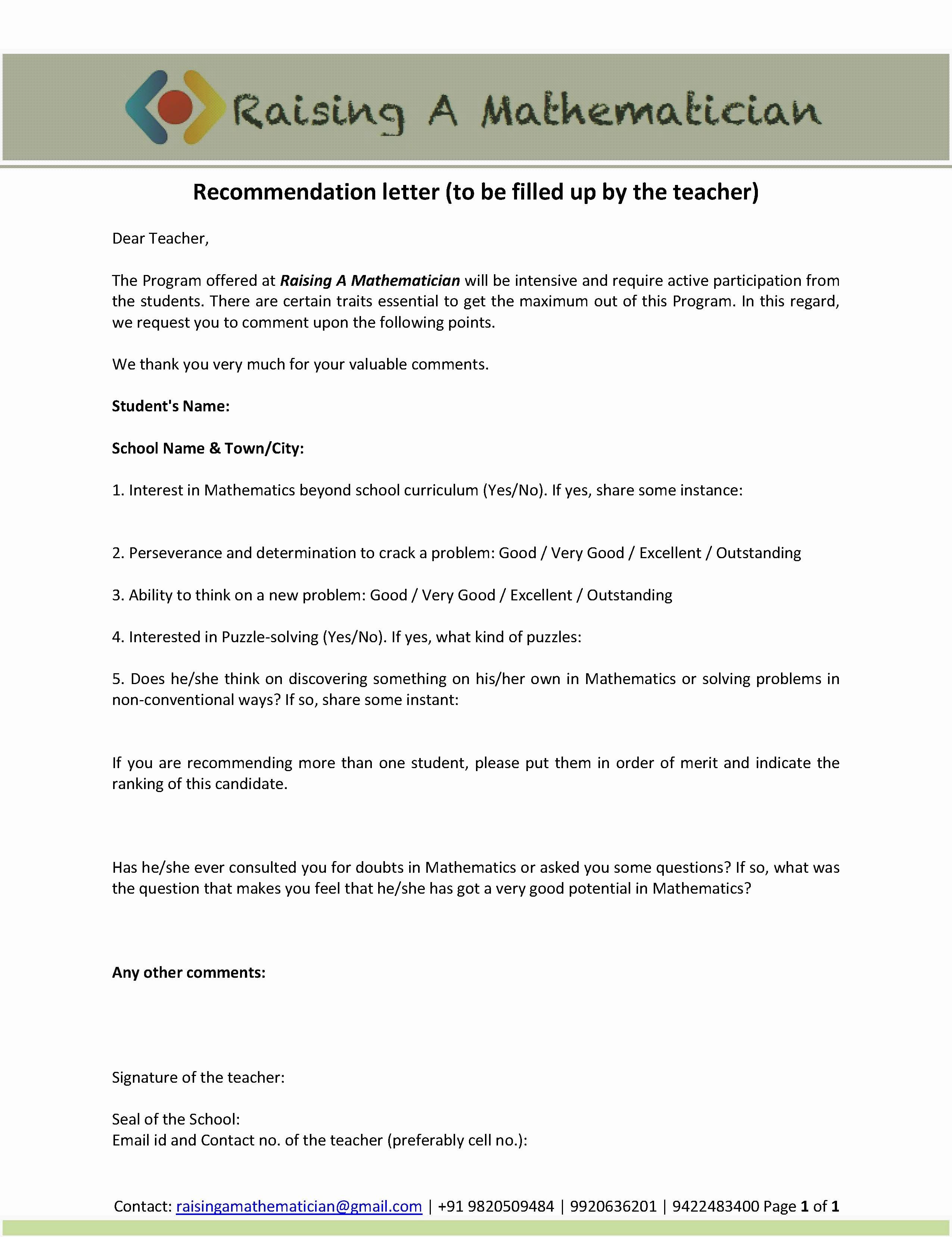 Recommendation Letter for Teacher Unique Raising A Mathematician