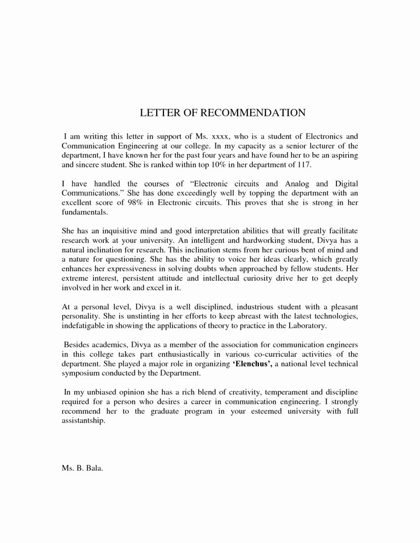 Recommendation Letter format for Student Awesome Download Reference Letter format Pdf Templates