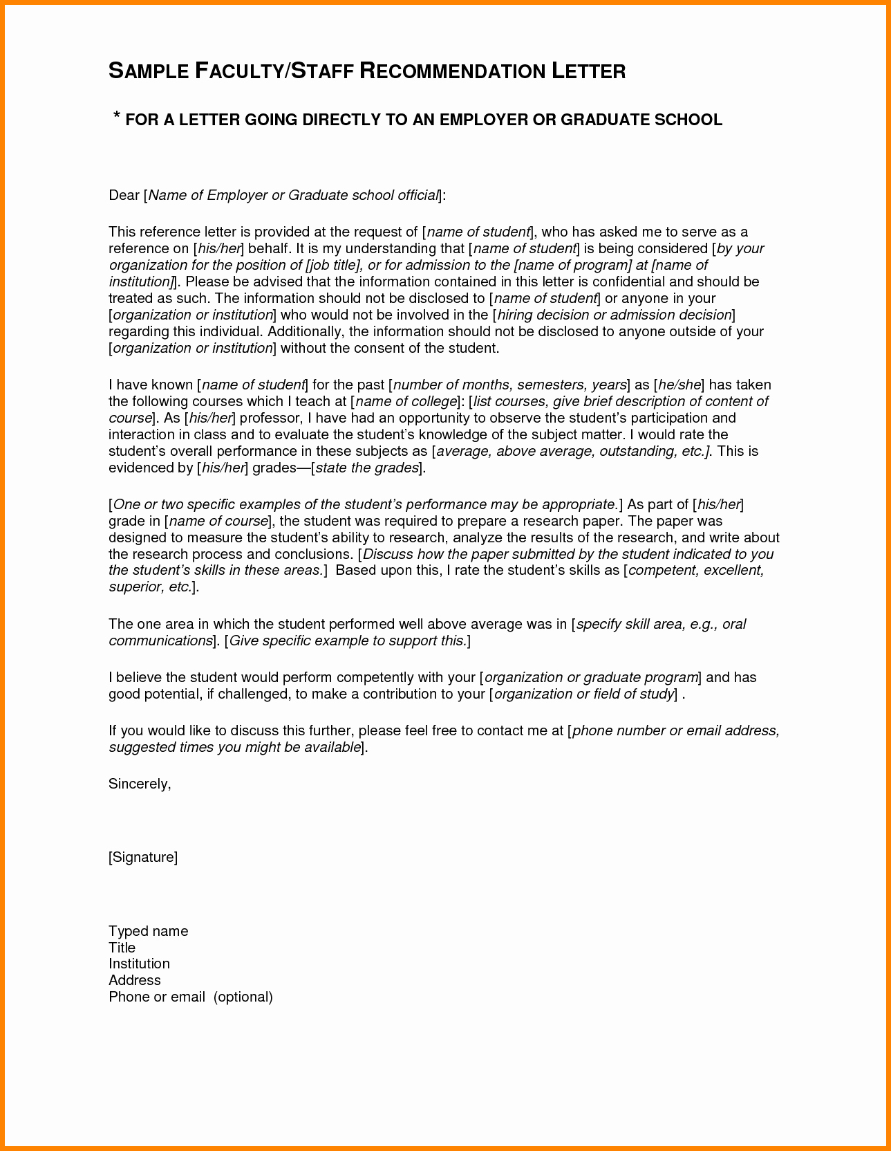 Recommendation Letter format for Student Beautiful 4 Re Mendation Letter Sample for Student