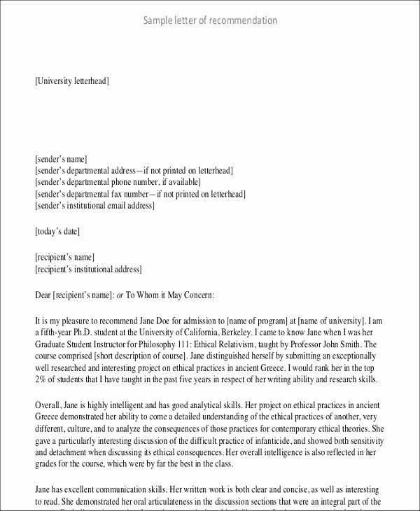 Recommendation Letter format for Student Best Of 8 Student Letter Templates 8 Free Sample Example